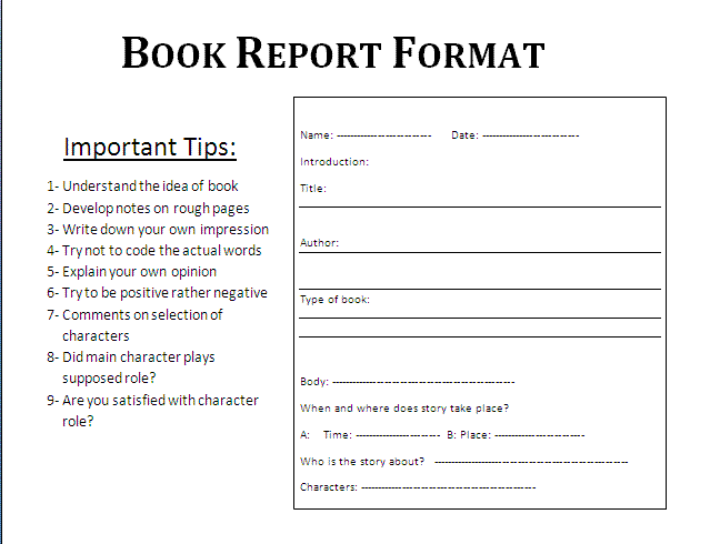 Book Report Form Sample page 2