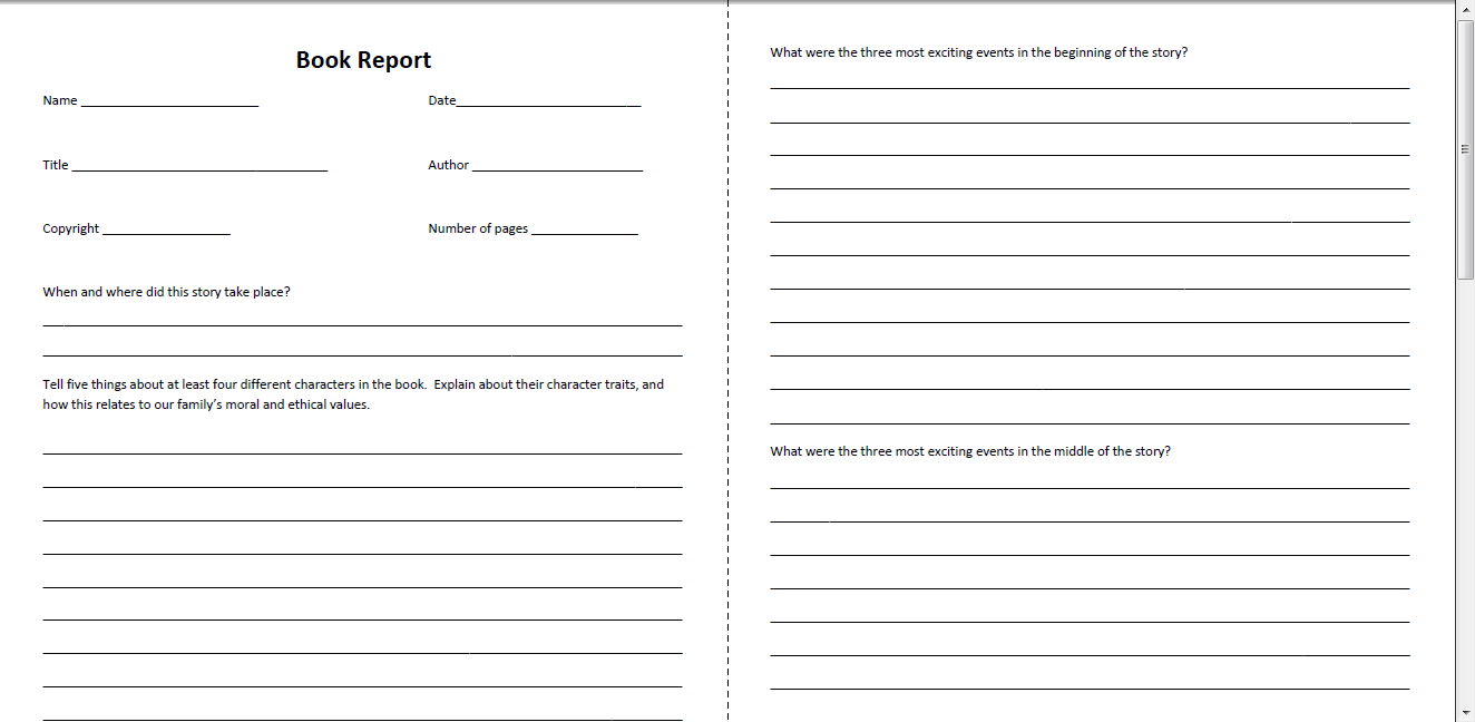Book Report Form  Sample page 1