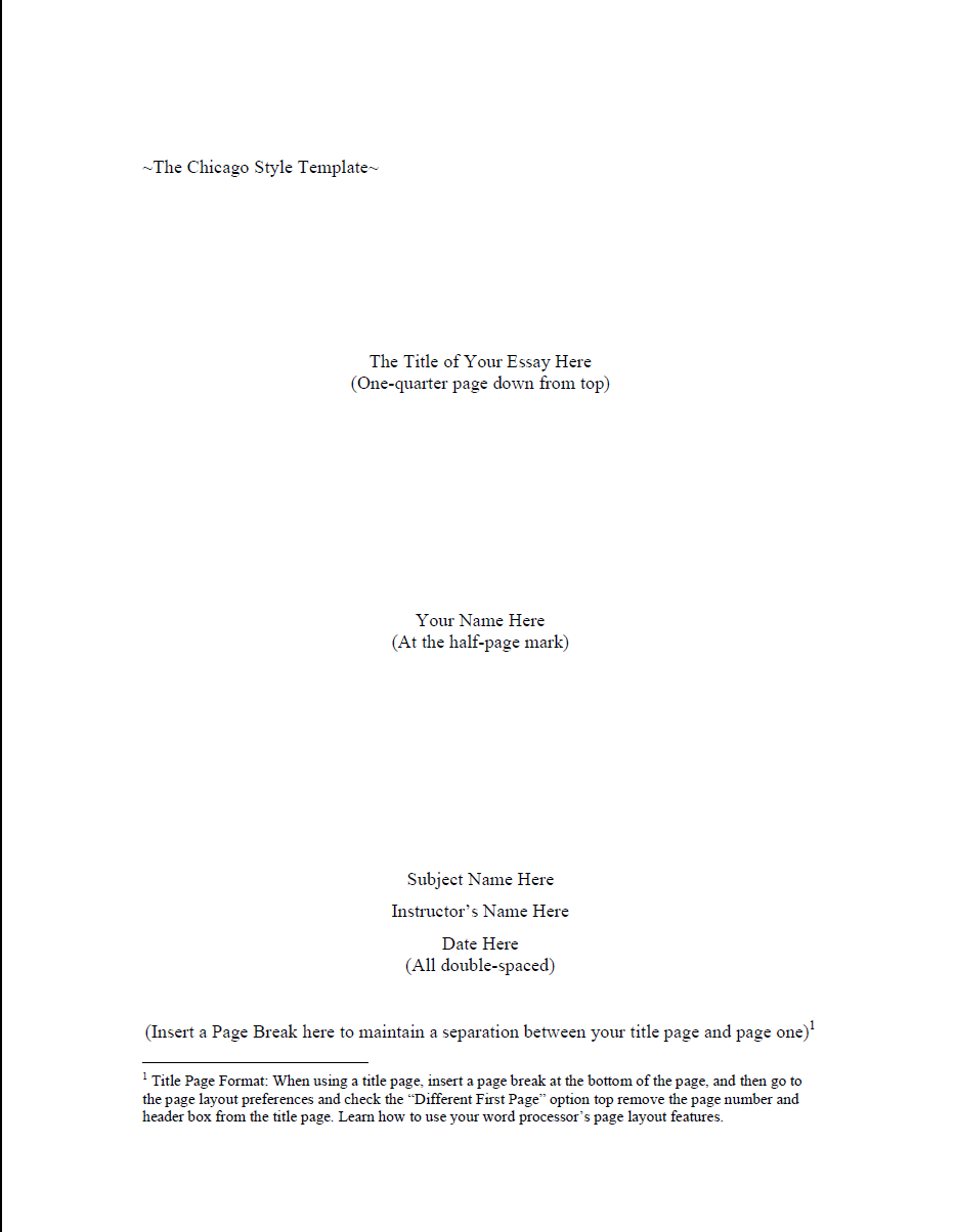 The Chicago Style Template: Title page ...