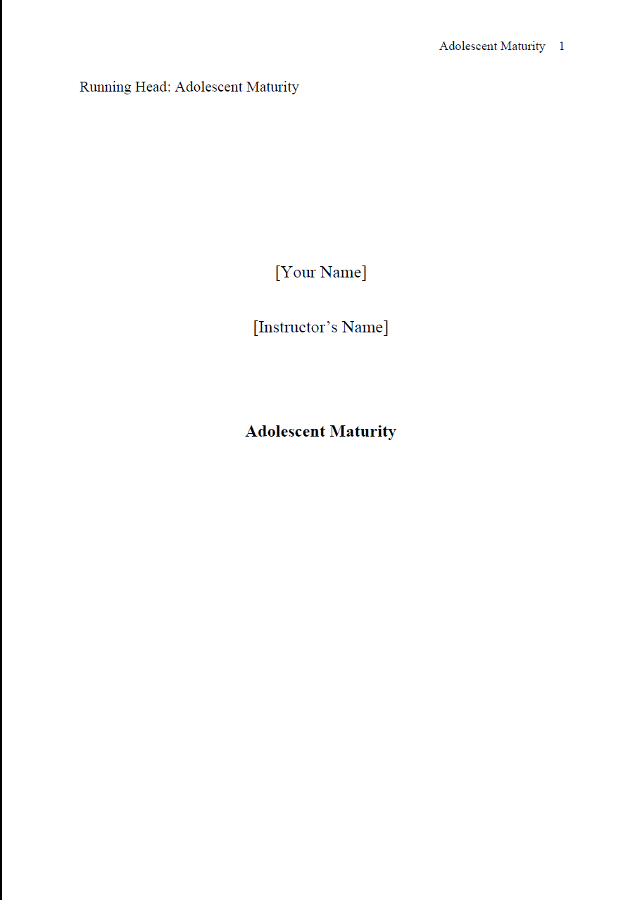 Adolescent Maturity Summary essay Title page