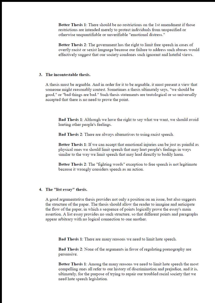 Thesis Statement. List of Problems. page 2