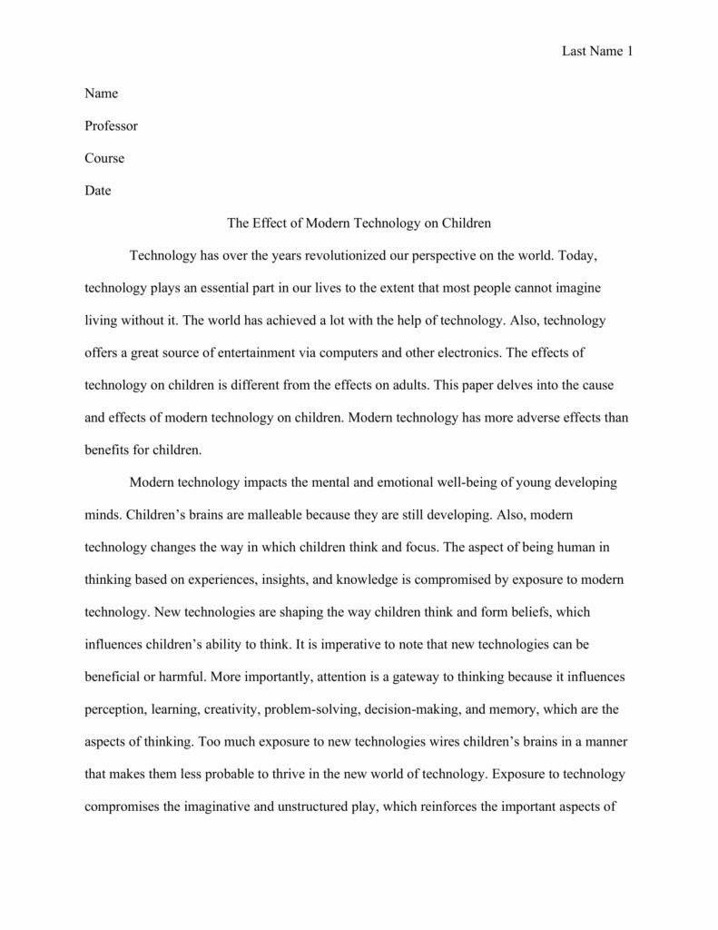 Cause and Effect Essay Examples 1