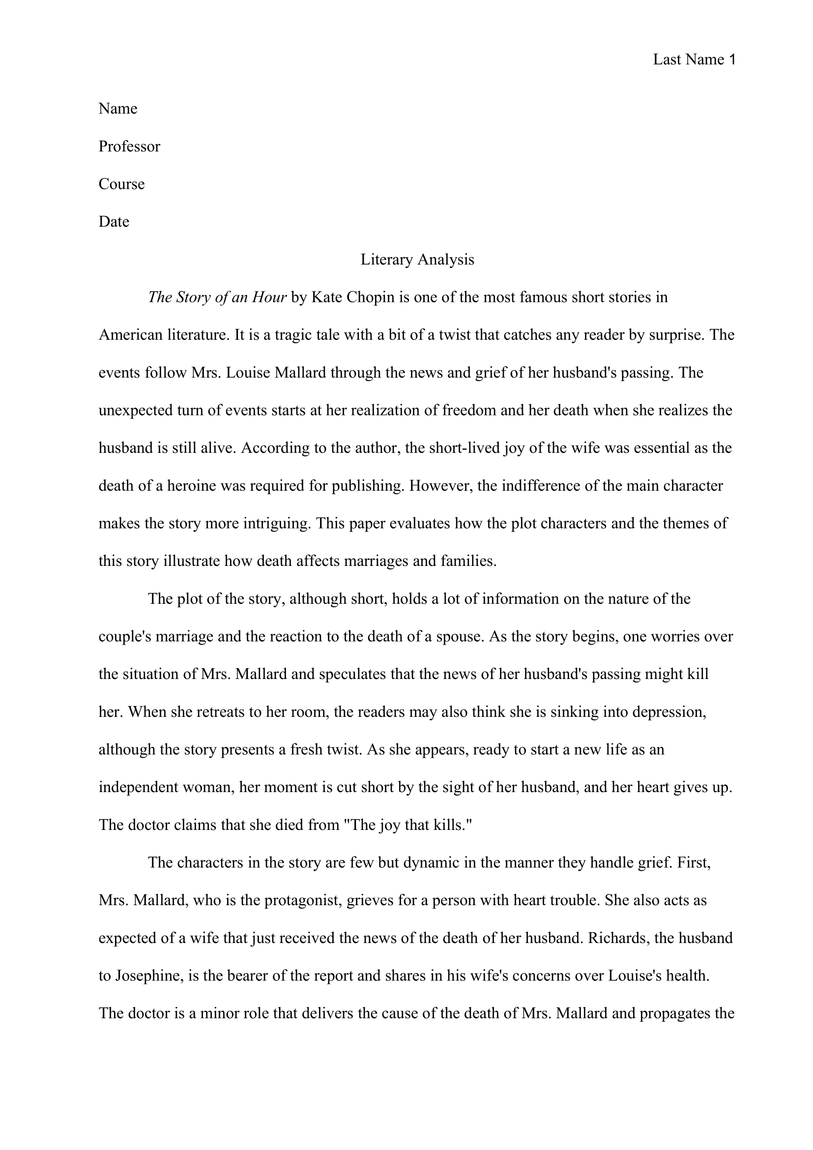 Analysis Essay Example 1