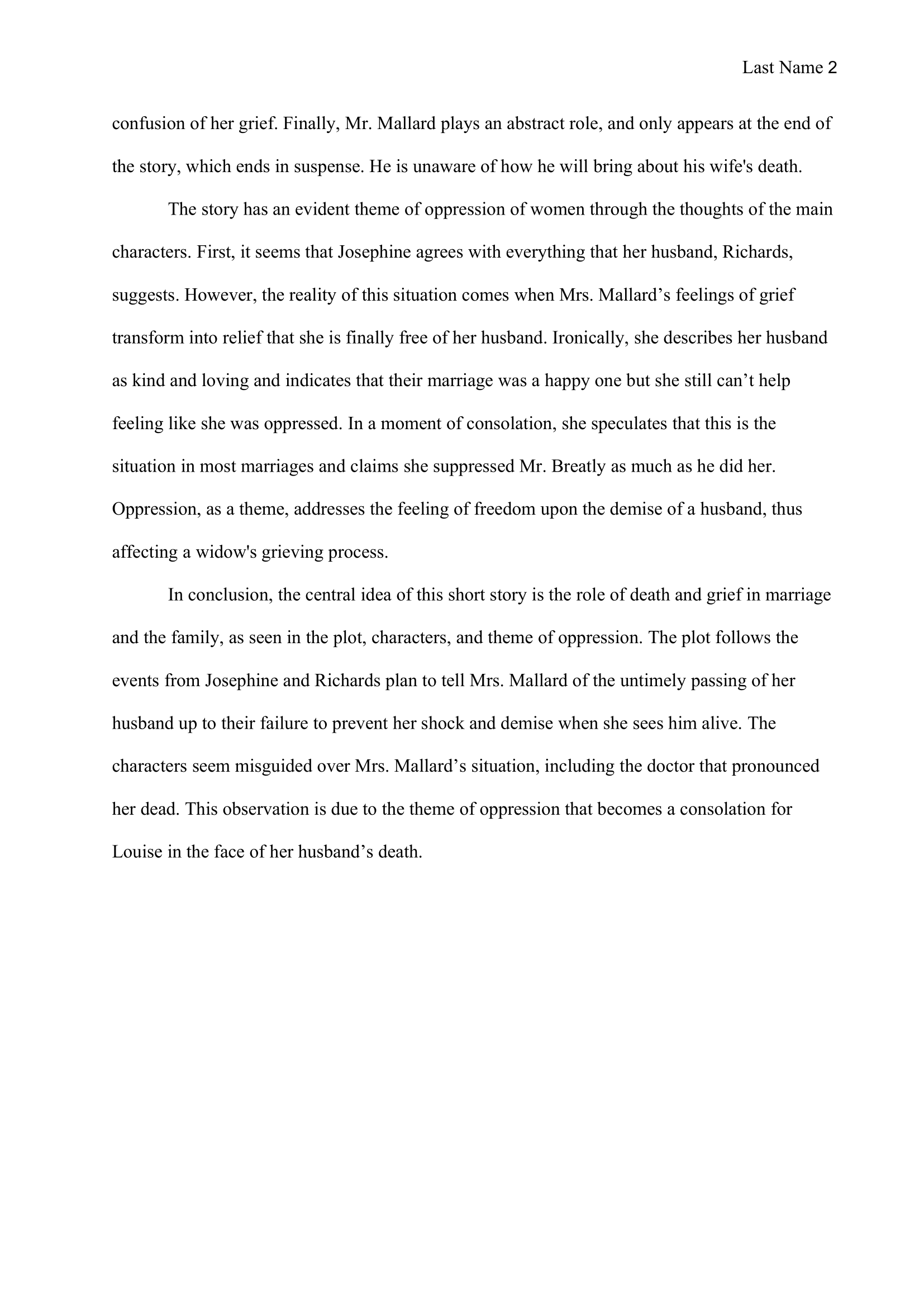 Analysis Essay Example 2